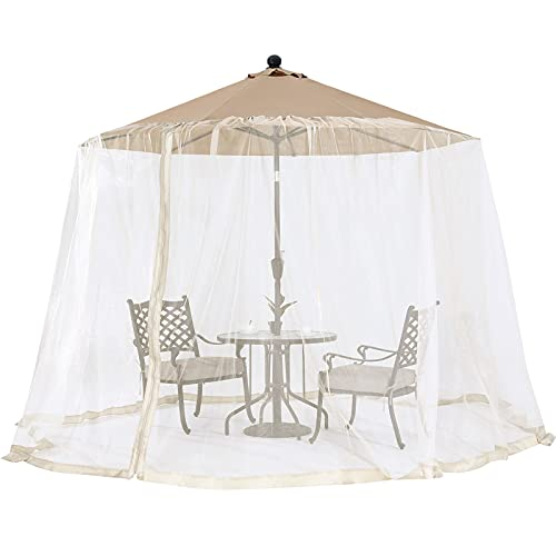 OUTDOOR WIND Outdoor 7.5FT-11FT Patio Umbrella Table Cover Mosquito Polyester Netting Screen,Beige
