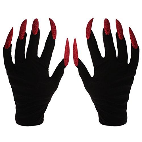 guanti con unghie MagiDeal Guanti Spaventosi Orribile con Unghie Rossi Vestito Fantasia di Halloween Adulto da Streghe Nero Finte Travestimento da Diavolo