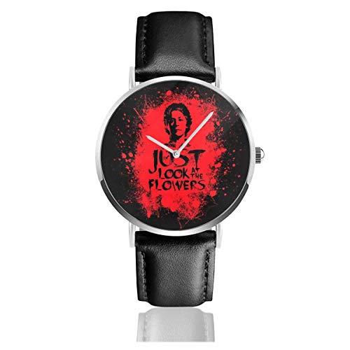 Relojes Cuarzo Cuero Banda Negra Colección Joven Regalo Unisex Business Casual Walking Dead Carol Look at The Flowers Bloodstain