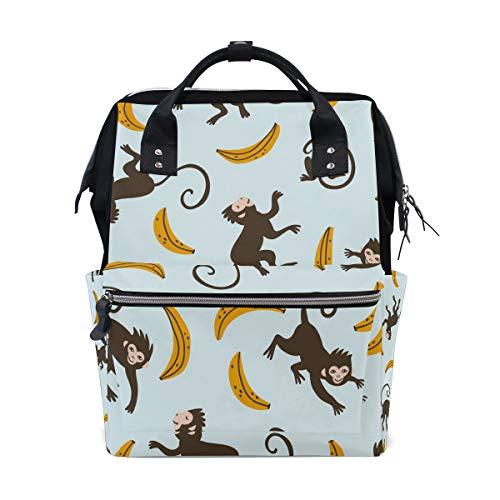 Sac à dos à langer personnalisé avec motif singe mignon avec banane pour maman, fille, femme, école, voyage, randonnée, ordinateur portable, bébé