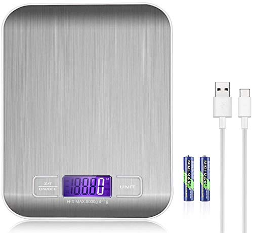 Báscula de Cocina con Carga USB Recargables 5kg / 11 lbs Peso Cocina Digital Balanza Alimentos de Acero inoxidable con Pantalla LCD Función de Tara (plateada)