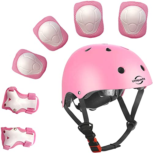 Kids Outdoor Sports Protective Gear Set and Helmet,Boys Girls Adjustable Helmet with Pads Set Knee Elbow Pads and Wrist Guards for Roller, Scooter, Skateboard, Bicycle (Pink)