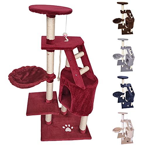 tiragraffi per gatti rosso Beltom TIRAGRAFFI per Gatto 120 CM Gioco Parco Giochi Cuccia Gatti GRAFFIATOIO SISAL Albero CUCCE Tira GRAFFIO Palestra - Rosso-Vino