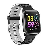 Letopro Smartwatch con frequenza cardiaca, orologio intelligente Bluetooth impermeabile IP68 Fitness Tracker Guarda con pedometro pressione sanguigna Sonno Monitor per iOS Android Phone,Grigio