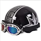 GAOZHE Half-Helmet Moto, clásico Abierto Cascos Half-Helmet, Profesional Moto Jet Cascos,para Mujer y Hombre Street Bike Cruiser Chopper Scooter,Dot Homologado