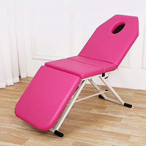 PVC Klappbar Massageliegen Dreifach Gefaltetes Kosmetikbett Massagetisch Behandlungsliege SPA Salon Bett Rosa