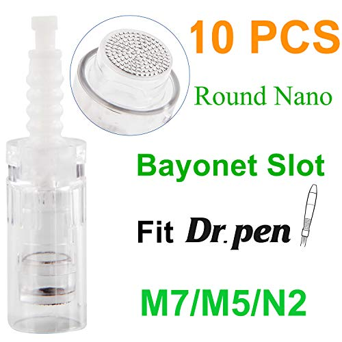 Dr. Pen Replacement Cartridges Disposable Needles, Compatible With Dr. Pen Ultima M5/M7/N2, Individually and Sealed Bags in Dr. Pen Original Box (10pcs Round Nano Tips)