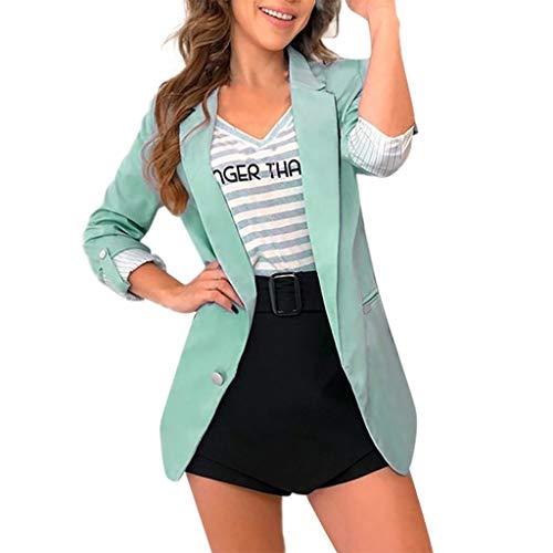 Nihewoo Damen Blazer Offene Front Cardigan Jacke Arbeit Büro Blazer Mäntel Leichter Parka Oberbekleidung Anzug Mantel - Grün - XX-Large