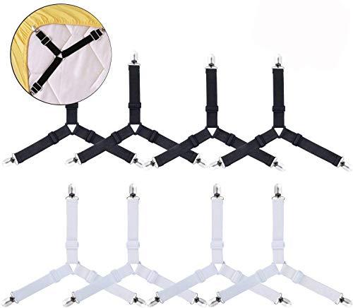 AUVSTAR - Sujetadores para sábanas de Cama, 8 Unidades, Ajustables, Triangulares, Resistentes, elásticos, Correas para la sábana Bajera, Soporte de Esquina, para sábanas Color Negro y Blanco