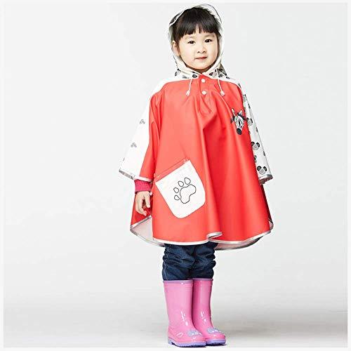 Guyuan Mode Enfants de Bande dessinée Enfants Transparent Grand Chapeau Avant-toits Hommes et Femmes bébé Coupe-Vent Manteau Poncho imperméable (Color : Red, Size : XL)