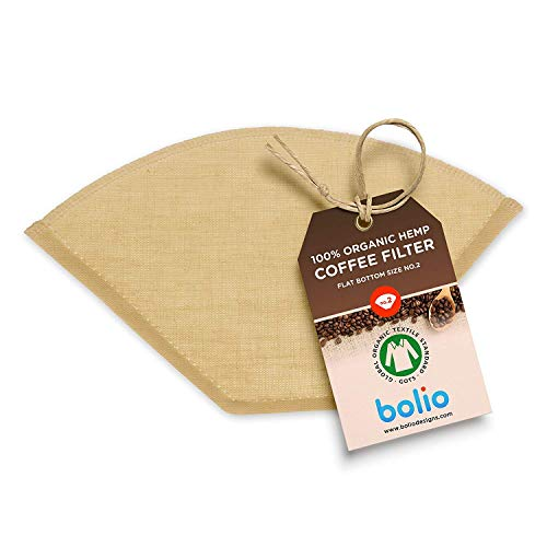 Bolio Organic Hemp Cone Coffee Filter – Reusable and Great for Making Smooth pour Over Coffee - No Plastics - Eco-Friendly Material (No.4, Flat, 1-pk)