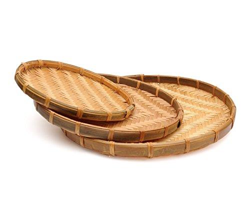 Set of 3 Vietnam Traditional Handmade Round Rattan Wicker Serving Basket Tray