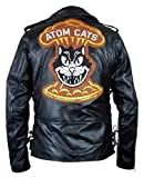 Man's Motorcycle Atom Cats Biker Black Real Genuine Sheep Napa Leather Jacket (XL)