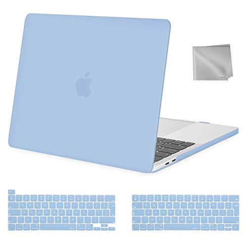 MOSISO MacBook Pro 13 inch Case 2020 2019 2018 2017 2016 Release A2289 A2251 A2159 A1989 A1706 A1708, Plastic Hard Shell&Keyboard Cover&Wipe Cloth Compatible with MacBook Pro 13 inch, Airy Blue