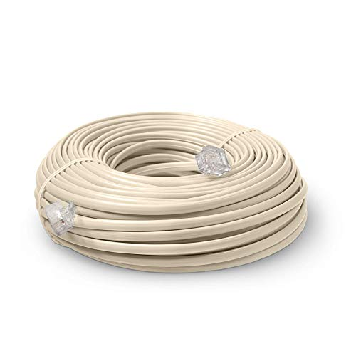Phone Line Cord 50 Feet - Modular Telephone Extension Cord 50 Feet - 2 Conductor (2 pin, 1 line) Cable - Works Great with FAX, AIO, and Other Machines - Ivory