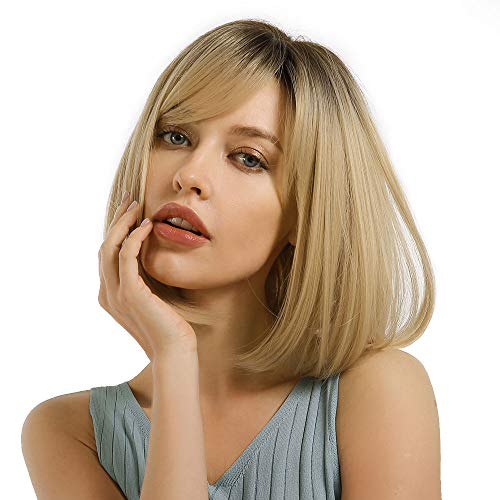 MORICA Blonde Wig with Bangs Short Bob Wigs for Women Ombre Blonde Wig Straight Bob Wig Synthetic Natural Heat Resistant Side Part Wigs 14 Inches for Party Daily Wear