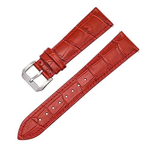 ZXF Correa Reloj Correa de Cuero Head Slub Slub Strub Correa Reloj Accesorios de reemplazo de liberación rápida Strapsimple Reloj Transpirable (Color : Red, Size : 21mm)