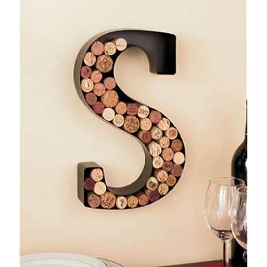 Monogram Wine Cork Holder - Letter S by LTD, Black