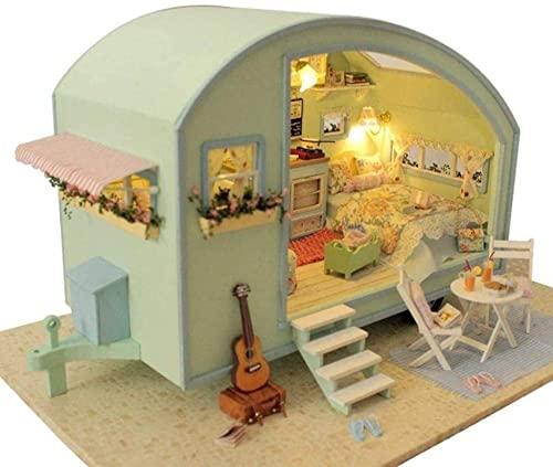 KANGNING 3D Realistico Modello di roulotte Fatto a Mano in Miniatura Kit casa delle Bambole con Carillon Fai da Te Romantico Creativo Compleanno e Regalo di Natale! Well