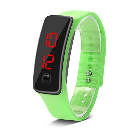 LED-Uhr Sport Silikonarmband, Digitale 12-Stunden-Zifferblatt elektronische Anzeige Armbanduhr, Digitale Outdoor Sport Wasserdicht Kinderuhr, Rechteck,mit Silikon Armband, für Frau und Mann(Hellgrün)