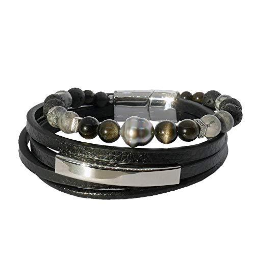 Inspiration obsidiana: Pulsera para hombre con piedras y perlas de Tahití y piedras bro8539-grande, 21 cm