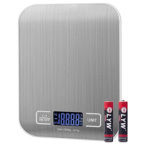 MCIGICM Digital Food Scale, 11lb Kitchen Scale Measures in Grams, Ounces and ML for Baking Cooking, Batteries Included