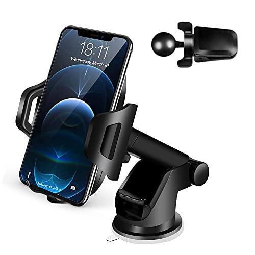Soporte Teléfono Coche - Soporte del Coche Móvil Universal para Parabrisas y Salpicadero con Ventosa de Gel Fuerte y Brazo Ajustable Giro 360° para iPhone 12/11/X/8/7/6 Samsung S10/20 y Más