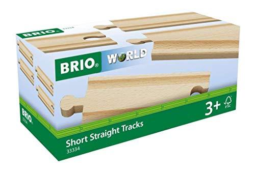 BRIO World - 33334 - Rails Courts Droits 108 mm - Accessoire pour circuit de train en bois - Jouet pour garçons et filles à partir de 3 ans