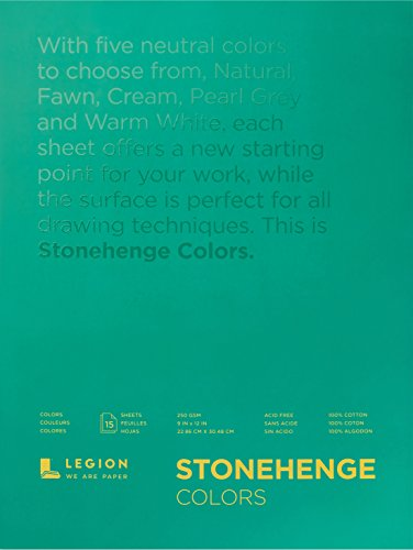 Legion Paper Stonehenge Pad (L21-STP250MC912), Multicolor Paper, 9 by 12 inches, 15 sheets