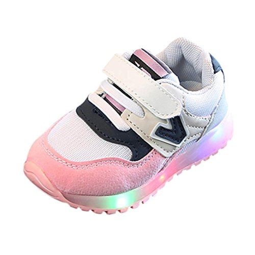 FNKDOR Kleinkind Baby Jungen Mädchen Kinder Turnschuhe Leucht Led Licht Wanderschuhe (20, Pink)