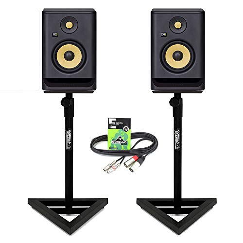 """Price comparison product image KRK Rokit RP5 G4 Professional Active Powered 5"""" DJ Studio Monitor Speakers (Pair) inc Gorilla Stands & 3m XLR-RCA Cable"""