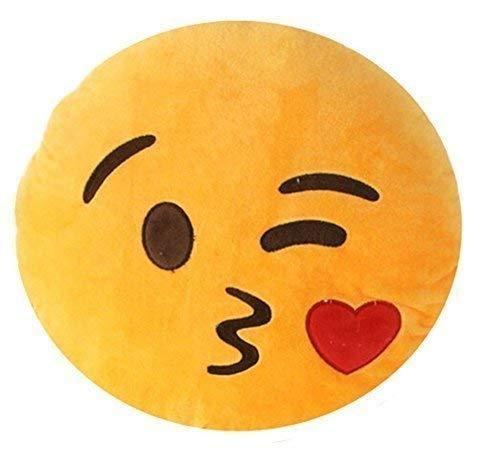 Rivenbert Emoji Smiley Emoticon cojín Almohada rellena Suave Peluche, con una Sonrisa, un Beso y un guiño : by