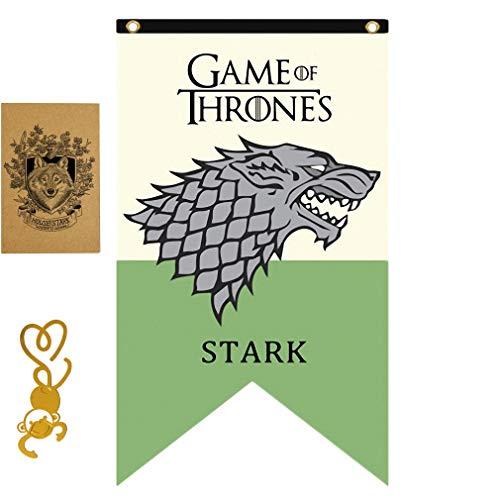 [125cm X 70 CM] Gift for Game Banner Thrones póster, Casa de Juego de Tronos Bandera, Stark Flag para Bar House Party Decoration