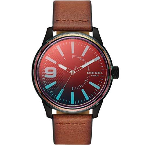 Diesel Heren Analoog Quartz Horloge met Lederen Band DZ1876
