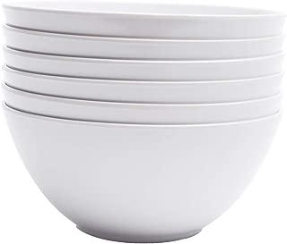 Yinshine Melamine Cereal Bowls - 28oz White Dinnerware Soup Bowls Set, Pack of 6