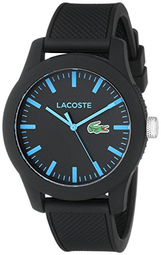 Lacoste Men's 2010791 Lacoste.12.12 Black Watch with Silicone Band