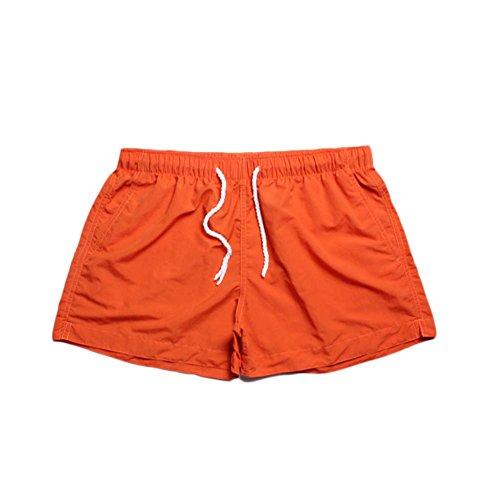 Hommes Respirant Shorts De Plage Été Casual Maillots De Bain Séchage Rapide Pantalon Court De Sports Orange M