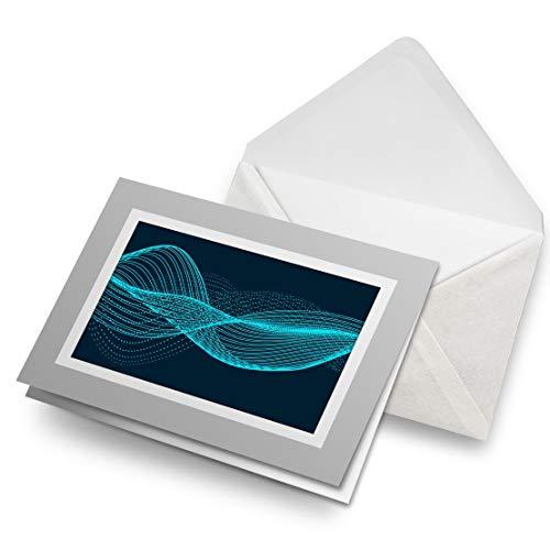 Awesome Greeting Cards - Tarjeta de felicitación en blanco, diseño de ondas de sonido azul, para fiestas de cumpleaños de niños y niñas #12431