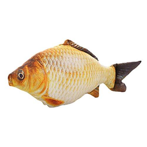 VORCOOL Cuscino decorativo a forma di pesce, 40 cm, con chiusura lampo, morbido peluche a forma di carpa, giocattolo imbottito