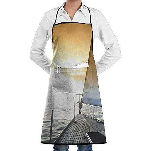 Apron Sea Sunrise Schort voor volwassenen, heren, dames, chef, polyester, verstelbaar, lang, zwart
