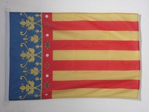 AZ FLAG Bandera de la Comunidad Valenciana 90x60cm Uso Exterior - Bandera Valenciana 60 x 90 cm Anillos