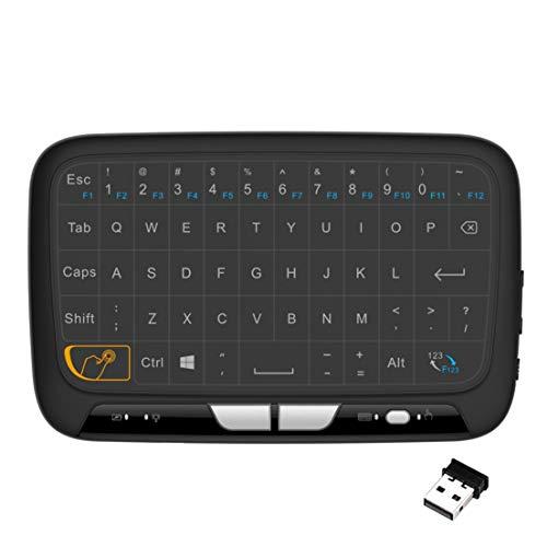 BiaBai H18 + 2.4GHz Retroiluminación Mini teclado inalámbrico Control remoto Panel táctil Combo de teclado para Smart TV para Android TV Box PC