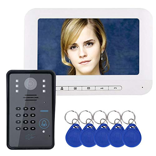 XH Timbre de intercomunicación con videoportero de contraseña RFID de 7 Pulgadas, Sistema de Control de Acceso de monitoreo de casa Visual Inteligente, cámara infrarroja 1000TVL HD de visión Nocturna