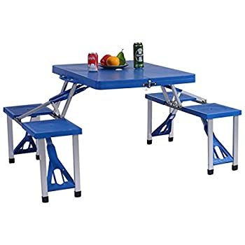GYMAX Portable Foldable Camping Table Set Folding Kids Picnic Table with 4 Seats Chairs & Umbrella Hole for Children Patio Backyard Travel Camping Hiking Picnic  Blue