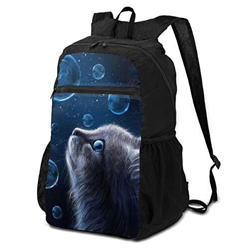 RSADGER Nice Night Blue Bubbles Cats in Galaxy Backpack Lightweight Packable Hiking Daypacks Foldable Outdoor Travel Bag