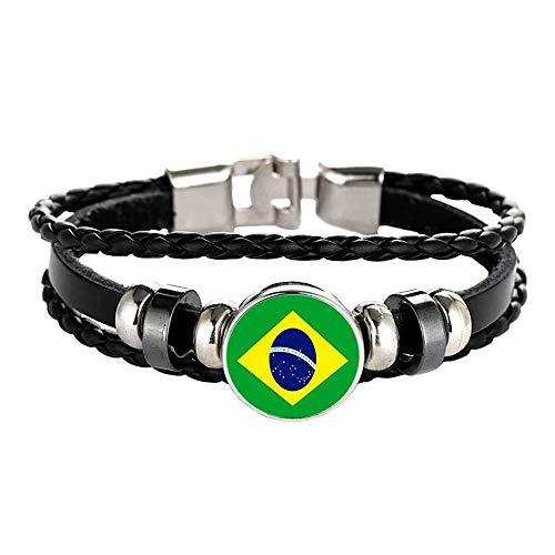 Pulsera de estilo de bandera de Brasil, hecha a mano, regalo de recuerdo de viaje