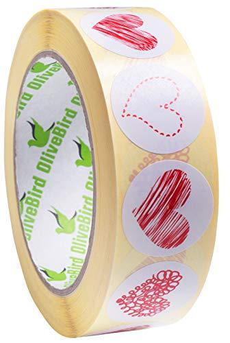 1000 Rot Herz Aufkleber 4 Designs in 1 Rolle 250 rot Herz Label Designs von jeder Stil für Umschlag Siegel (style 1)