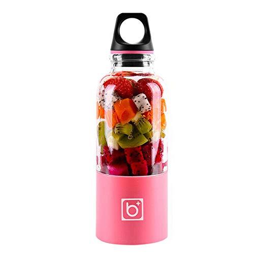 tropicalboy Standmixer Smoothie Maker, Elektrischer Entsafter Mixer 500ml Tragbar, Saftpresse mit USB-Kabel und Edelstahl Klingen, für Fruchtsaft Juice Milkshake (pink)
