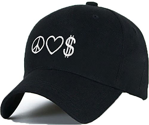 Bonnet Casquette Snapback Baseball PEACE LOVE MONEY 1994 Hip-Hop en Noir / Blanc avec les ASAP Bad Hair Day