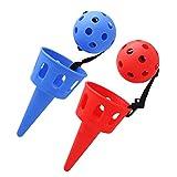 NUOBESTY 2 Juegos de Pop and Catch Ball Games con Lanzador Cestas Pelotas Lanzamiento Scoop Ball Juguetes para Niñas Niños Adultos Adentro Al Aire Libre Césped Camping Playa Rojo Azul